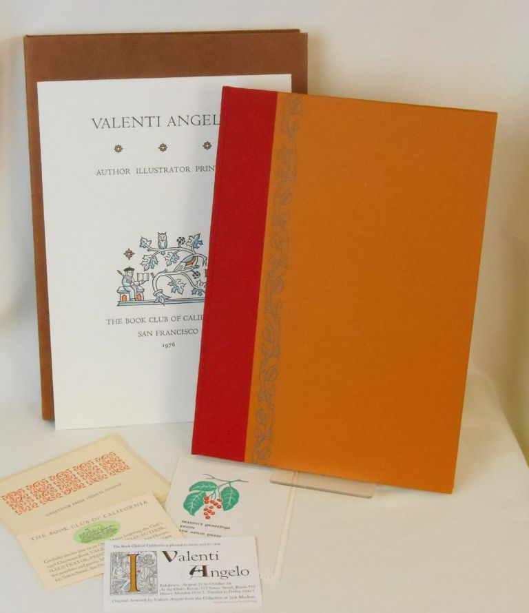 Valenti Angelo, Author, Illustrator, Printer. Oscar Lewis, Robert Grabhorn, Sherwood Anderson, Annis / Angelo Duff, Anne, Valenti / Englund, all contributing essays, Autobiographical Story, Bibliographical Checklist.
