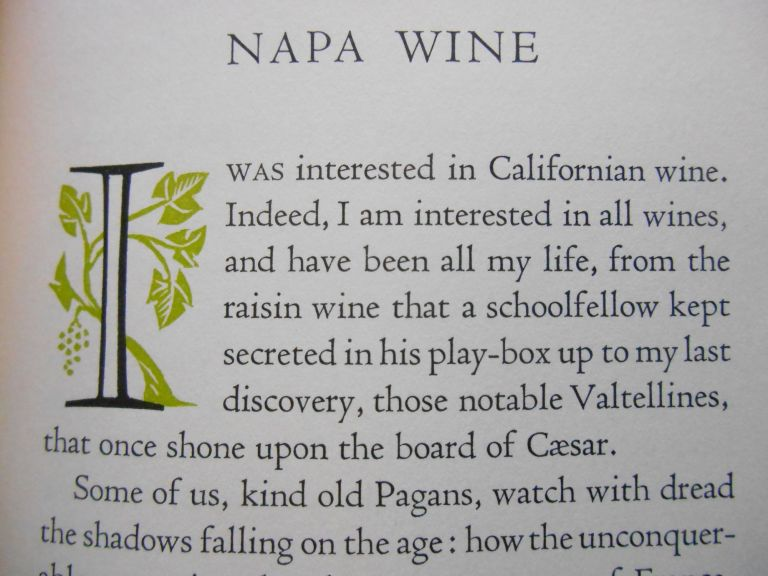 """Napa Wine; A Chapter from """"The Silverado Squatters"""" Robert Louis Stevenson, M. F. K. Fisher, Mallette Dean, Introduction, Decorations."""