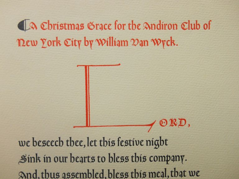 A Christmas Grace for the Andiron Club of New York City. William Van Wyck.