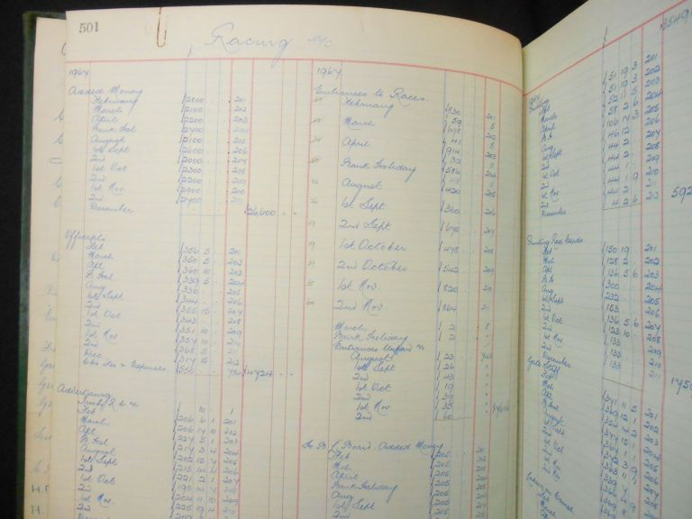 Fontwell Park, Accounting Ledger, 1967-1972