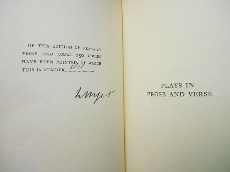 Plays in Prose and Verse; Written for An Irish Theatre, and Generally With the Help of a Friend. W. B. Yeats.