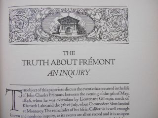 The Truth About Fremont, An Inquiry. Ernest A. Wiltsee