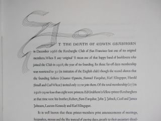 In Memoriam, Edwin Grabhorn, 1889-1968 [Roxburghe Club Keepsake]