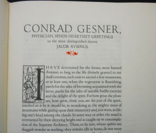 Conrad Gesner, On the Admiration of Mountains. . ., Together With: On Conrad Gesner and The Mountaineering of Theuerdank