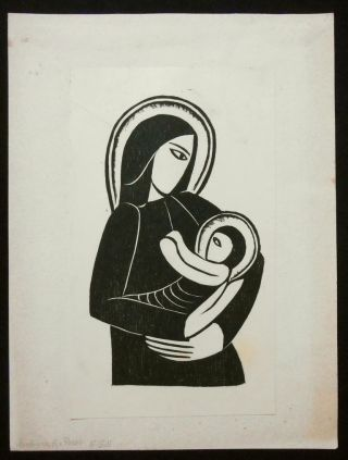 "Madonna for Poster [Print of ""Madonna and Child""]. Woodcut, Eric Gill, Artist"
