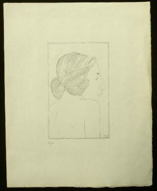 "Copper Engraving of ""Portrait of a Lady"" [Moira, Mrs. Robert Gibbings]. Eric Gill, Artist."