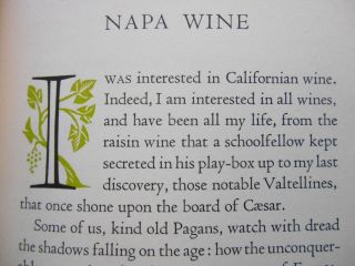 "Napa Wine; A Chapter from ""The Silverado Squatters"" Robert Louis Stevenson, M. F. K. Fisher,..."