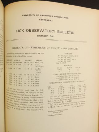 Lick Observatory Bulletins; Contributions of the Berkeley Astronomical Department Volumes I - XI, 1904-1924