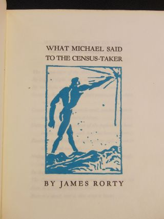 What Michael Said to the Census-Taker. James Rorty, Joseph Sinel, Woodcut