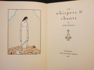 For Whispers & Chants. Jake Zeitlin, Carl Sandburg, Valenti Angelo, Foreword, Frontispiece