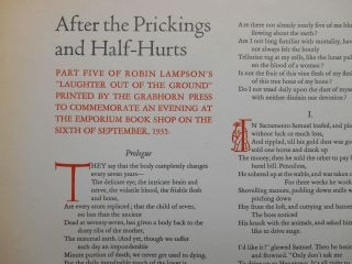 """After the Prickings and Half-Hurts; Part Five of Robin Lampson's """"Laughter Out of the Ground"""" Printed by The Grabhorn Press to Commemorate an Evening at the Emporium Book Shop on the Sixth of September, 1935."""