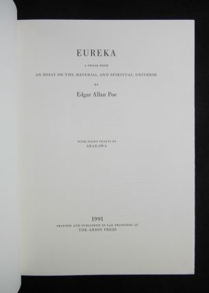 Eureka, A Prose Poem; An Essay on the Material and Spiritual Universe