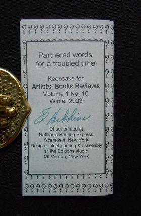 Which Way?; Partnered words for a troubled time, Keepsake for Artist's Books Reviews, Volume 1 No. 10, Winter 2003