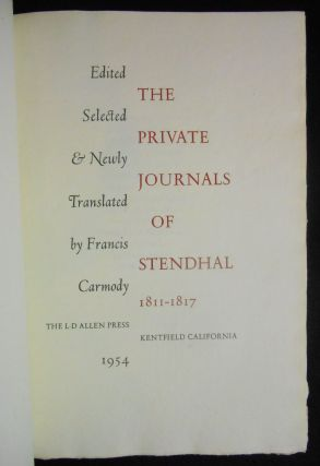The Private Journals of Stendhal, 1811-1817