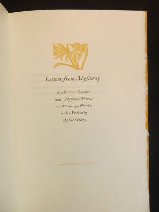 Letters from Myfanwy; A Selection of Letters from Myfanwy Thomas to Masatsugu Ohtake