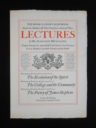 The Book Club of California Invites Its Members & Their Friends to a Series of Three Lectures by...