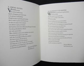 FDM / ALH; One Hundred Copies Printed for the Friends of the Poets at the Arion Press / Con Amore