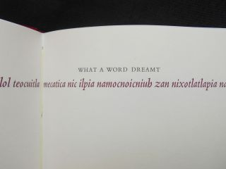 What a Word Dreamt; Versions of Aztec Poetry. Peter Everwine