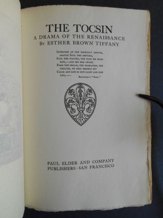 The Tocsin, A Drama of the Renaissance