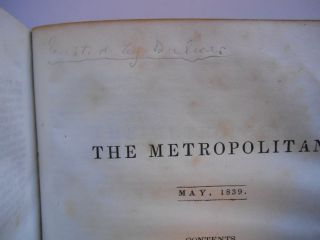 The Metropolitan Magazine, January to June, 1839, American Edition, Vol. VII