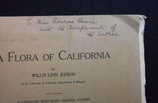 A Flora of California, Part IV (INSCRIBED BY AUTHOR)